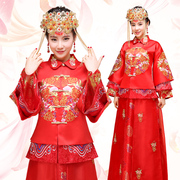 Han Wo clothing dance yarn man Bride Dress Gown Wedding Dress Red Dragon female Chinese clothing cheongsam show kimono Wedding Toast