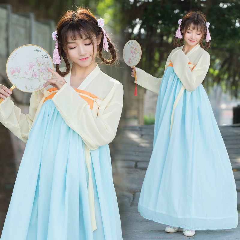 Spring and summer female costume Hanfu double chest jacket skirt suit dress with silk costume show ancient costume