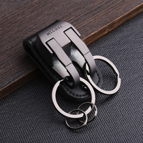 Belt key buckle Mens wear belt waist hang type key chain pants car keys pendant metal double ring anti-loss