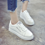 White leather shoes spring lace white canvas shoes casual shoes all-match Korean female student a breathable shoes