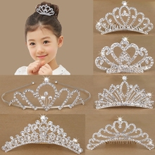 Vibrant Childhood Child Hair Accessories Princess Hair Band Little Girl Hairpin Girl Water Drill Bit Comb Crown Headdress