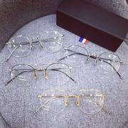 Trend of Korean Harajuku half glasses frame Phnom Penh transparent round retro thin legs flat mirror with myopia