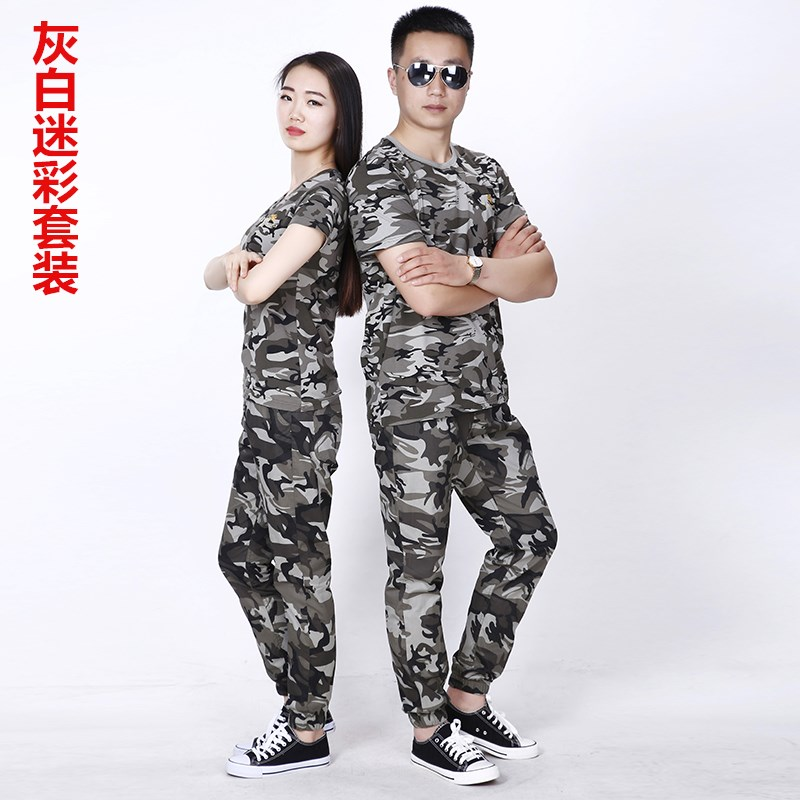 Camouflage suits, suits, jungle suits, outdoor overalls, long sets of lovers, short sleeved cotton t-shirt men