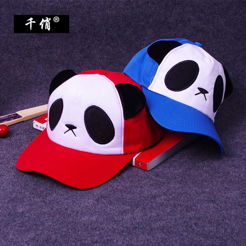 千俏时尚户外遮阳帽运动休闲鸭舌帽 男女亲子透气卡通熊猫棒球帽