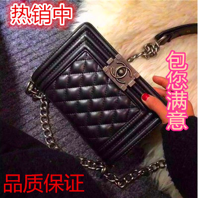 15 new true story of hot MOM with female baodan shoulder leather bags small rhombic fields breathe sweet handbag chain bag