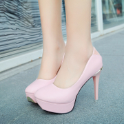 In the summer of 2017 with the new students. All-match fine high-heeled shallow mouth thick round bottom shoe set children low shoes