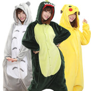 Winter pajamas female flannel pajamas cartoon animal dinosaur lovers thick winter men's Siamese pajamas in winter