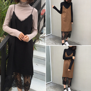 Korean version of the chic all-match dress dress new autumn loose women stitching lace hem V collar in the tide