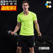 Men sport suit short sleeved summer running clothes dry T-shirt five fitness sports shorts thin clothes