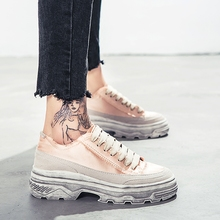 increased high old shoes female Korean version ulzzang Harajuku wild ins super fire shoes female spring pink canvas shoes