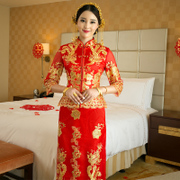 2016 new bride toast clothing cheongsam show kimono wedding dress dress gown wedding dress show Wo Chinese winter female dragon