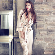SANGLUO sang Luo 15 autumn 100% silk embroidered new Duijin long sleeved silk pajamas female suits C733
