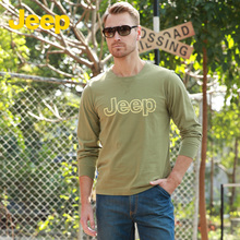 JEEP/ men's business casual Jeep code letters loose cotton long sleeved T-shirt JS13KT120