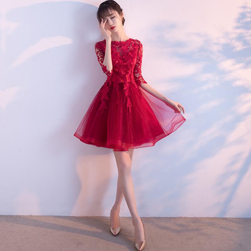 敬酒服新娘冬季2017新款短款红色进酒服订婚结婚衣服韩版伴娘礼服