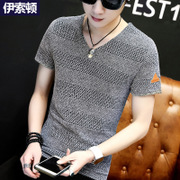 Summer men's short sleeved T-shirts, V collar, 2017 new trends, T-Shirts, pure white Korean, half sleeve clothes, summer men's clothing