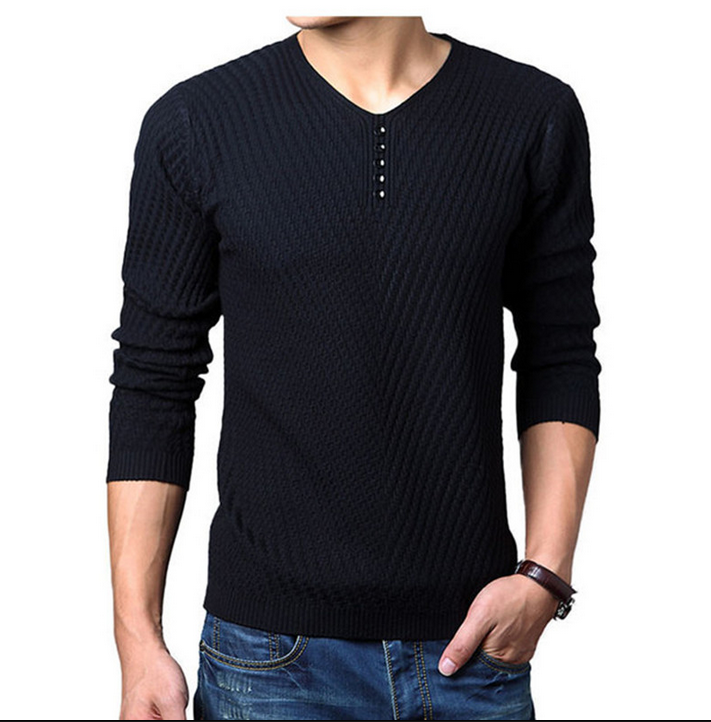 Korean Mens Long Sleeve T-Shirt SWEATSHIRT MENS LONG cotton T-shirt middle-aged young knitting shirt