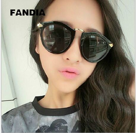 Li Xiaolu same paragraph sunglasses Fan Bingbing star with the same style of retro circular arrow Sunglasses big frame glasses tide men and women