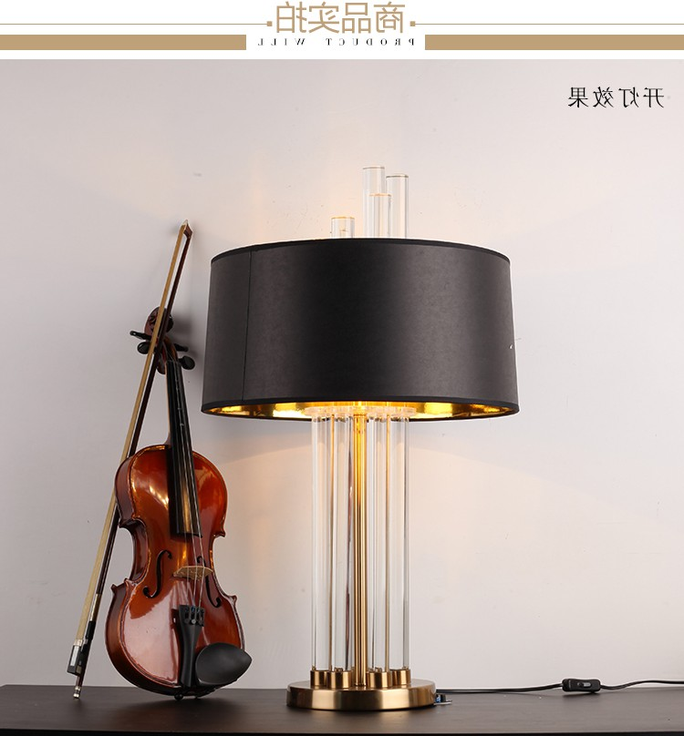 Fashionable American export, simple crystal table lamp, Moderno Hotel room, living room lamp, sample house, designer decoration