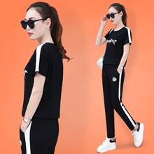 Sports suit female summer 2018 new casual wear spring and autumn Korean version loose large size fashion cotton two-piece