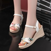 Summer autumn color printing in a high fashion women's sandals with Velcro high-heeled cute girls leisure