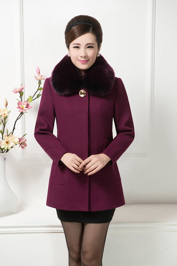 Middle-aged and old women winter cloth coat in large simulation code mother fox collars in the autumn long coat