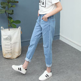 Spring new loose large yards corners jeans female students wild curly feet 9 points harem pants bf wave