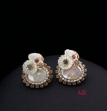 Mother of pearl earrings earrings Daisy hypoallergenic female sweet flowers Earrings Korean import simple alloy earrings