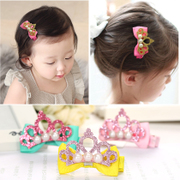 Young childhood Hair Barrette Princess pearl Tiara hairpin girls baby duck clip clip