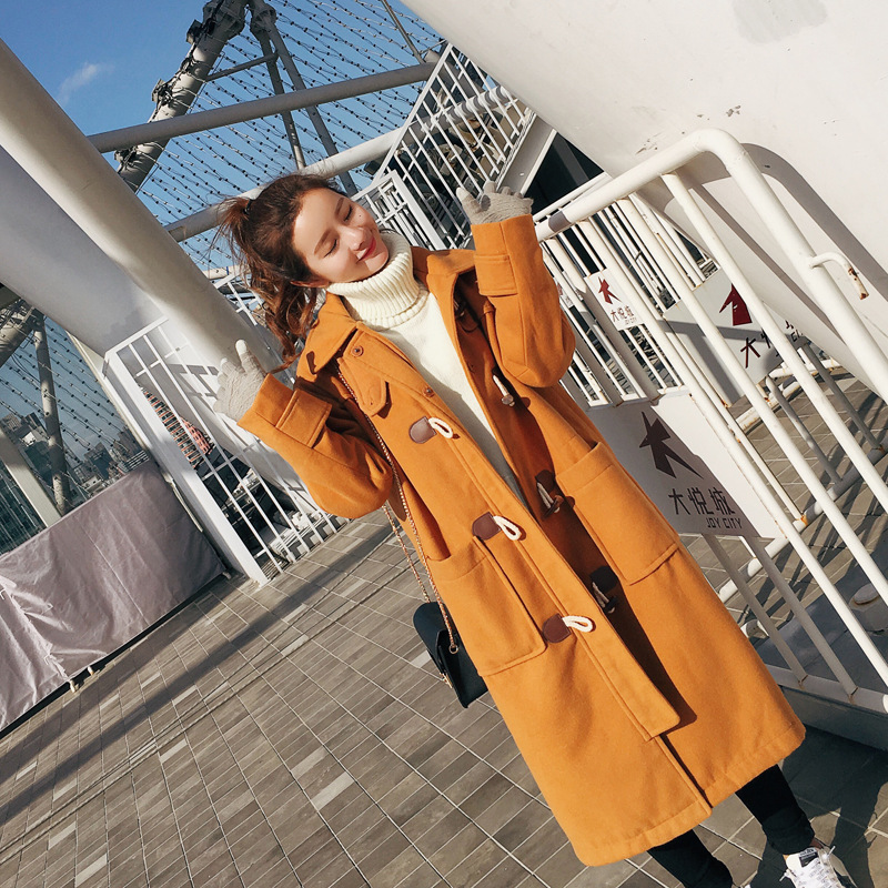 Female woolen coat Long coat clamp cotton 2016 new winter college wind hooded horn buckle wool camel
