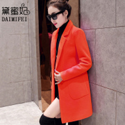 Wool tweed coat girls long 2017 Korean winter new spring slim dress thin all-match woolen coat