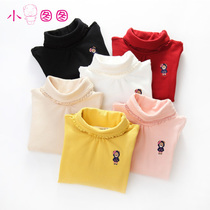 In the spring and autumn big children knitted bear cotton shirt childrens t-girls long sleeve high collar primer shirt spring loaded