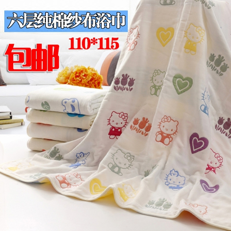 The baby is six layers of gauze towel Cotton thickened absorbent towel mushroom cartoon children is cool in summer. The post