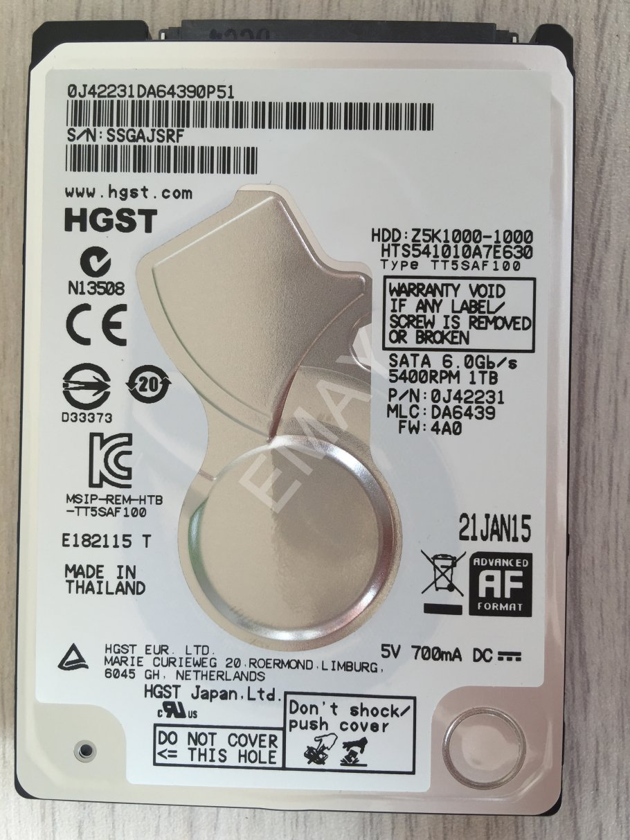 HGST HTS541010A7E630 1TB 2.5 inch notebook hard drive 7mm slim 32M cache