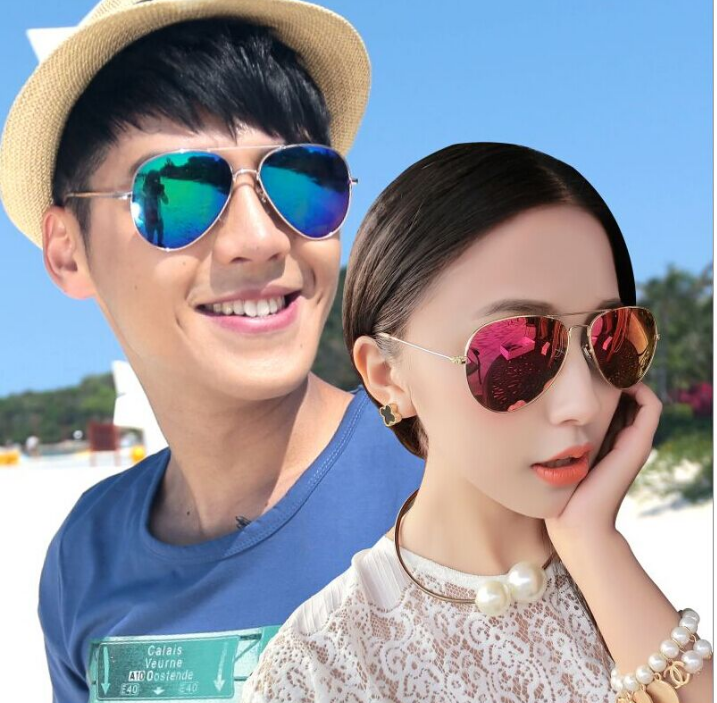 New polarizer colorful frog mirror reflective sunglasses Armani sunglasses men and women drivers a big box of myopia