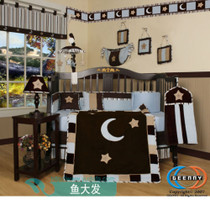 Purchase 15-PCS Blue Moon crib bedding Brown star Lampshade removable and washable