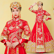 Baby with the bride wedding dress dress show Wo Chinese dress wedding dress 2016 new winter show Wo dragon gown