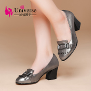 A female student shoes autumn shoes high-heeled shoes leisure Korean leather shoes with pointed all-match coarse shoes P9