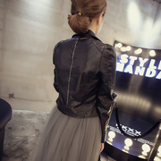 The spring and Autumn New Korean Ladies Leather Black Motorcycle Jacket Coat short jacket lapel small leather female tide