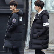 The new winter coat of young men in the long winter coat cotton mens jacket thick tide Korean students sub