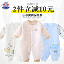 0-3-6 months newborn baby warm even in autumn and winter climbing clothing Spring cotton baby Siamese clothes body Romper