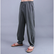Chinese wind in spring and summer of Chinese costume male trousers linen casual pants Mens Cotton Pants Size loose wide leg pants