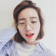 The new Korean women's large frame glasses can be linked to the chain of VINTAGE RETRO art metal frame face lift frame myopia male
