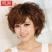 Women's wig short curly wig short hair new female fluffy repair face oblique bangs wig fashion realistic fashion