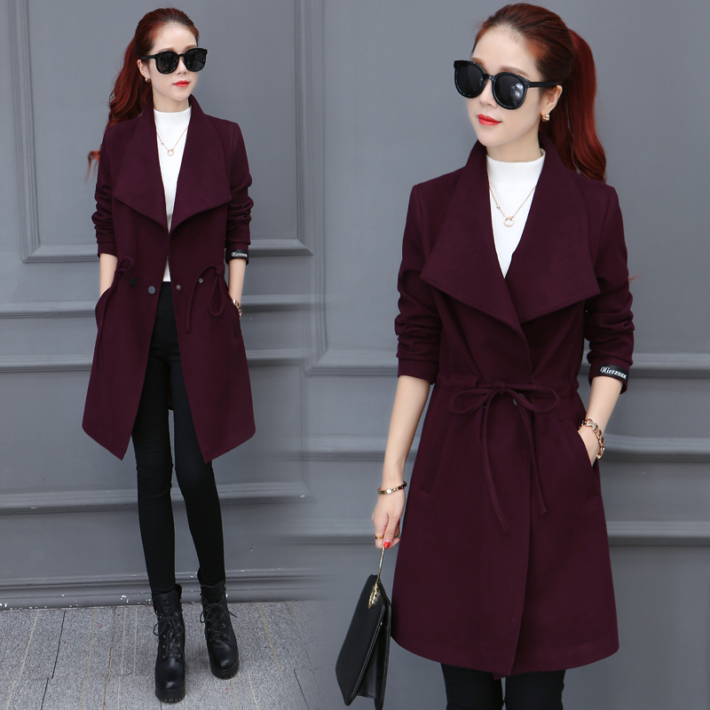 2016 new winter long sleeved lace in the long woolen coat was thin and thick coat of female fashion models