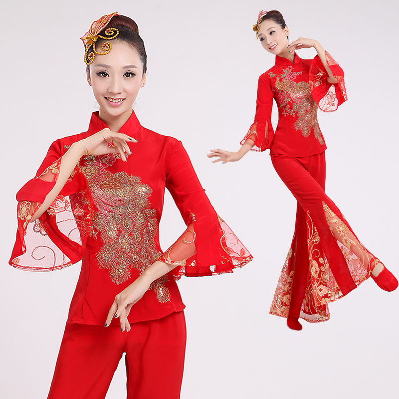 Costumes dance clothing 2015 new modern square dance, fan dance performance clothing dance drum suits