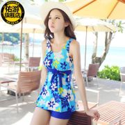 Ms. thin cover belly conservative pants split swimsuit small chest size hot spring steel support gather skirt swimsuit