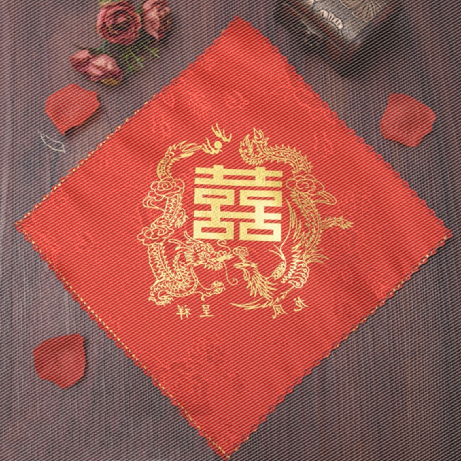 Restoring ancient ways of people use red like a handkerchief or handkerchief pocket handkerchief red square knot wedding festival supplies new bride