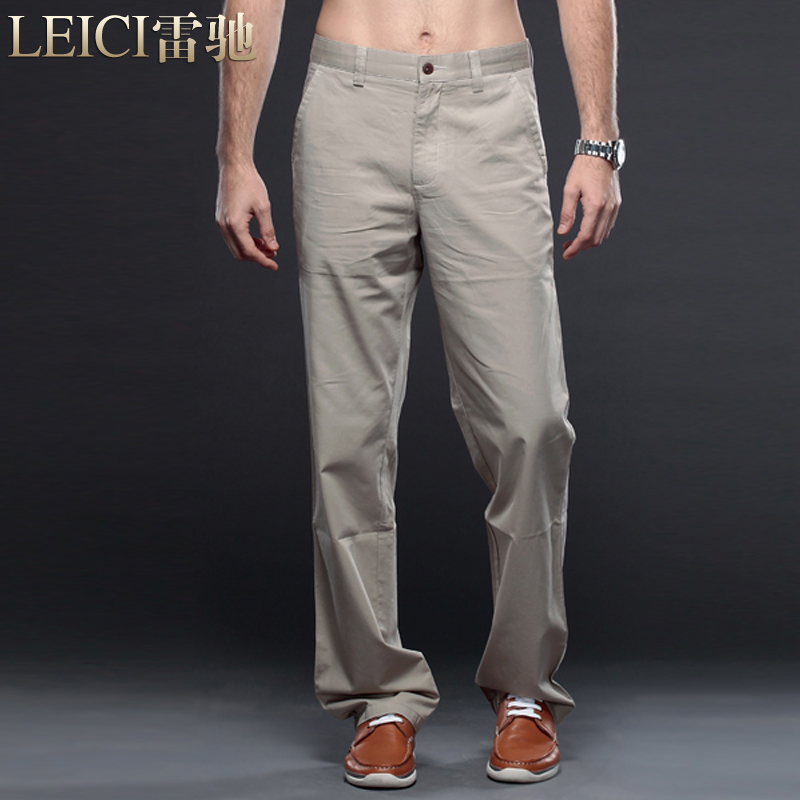 雷驰奢侈品男装 男士中腰冰丝埃及长绒棉修身直脚休闲裤0003