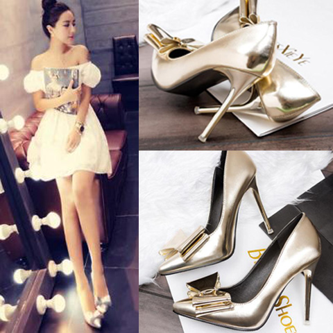 Korean version of the authentic sexy nightclub light gold silver stilettos pointed fashion bridal wedding shoes women's shoes