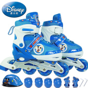 Disney skates children's roller shoes full set of men and women can be adjusted straight row wheel 4-5-10 years old roller skates